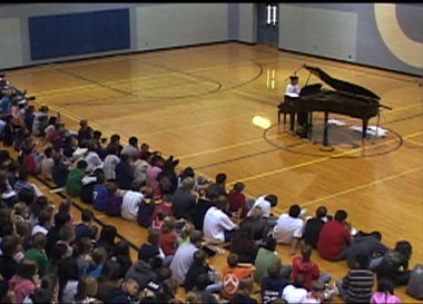 Piano in a gym
