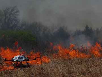 Fire and Flying Drone