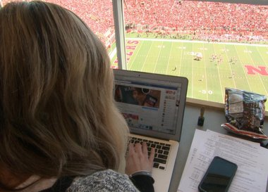 Erin at work in Memorial Stadium