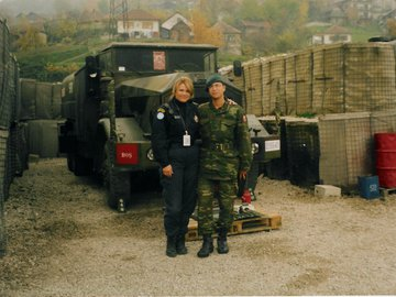 Kathy and Turkish SFOR soldier at Turkish base in Zenica highres.jpg